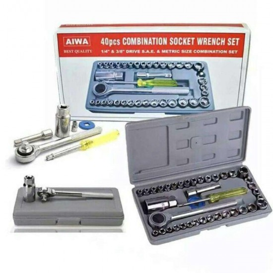 Multi Purpose Combination Socket Wrench Set Ratchet Screwdriver Set 1/4 inch