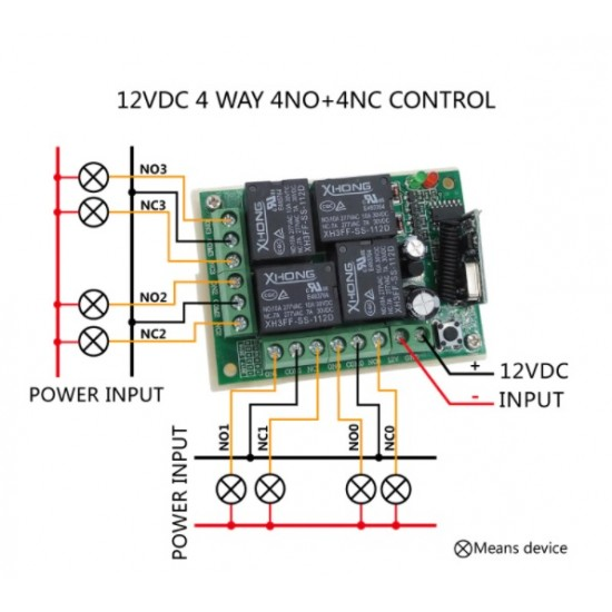 Remote Control Switch DC 12V 4 Channel Relay Receiver & Transmitter Module RF 433MHz Universal Wireless