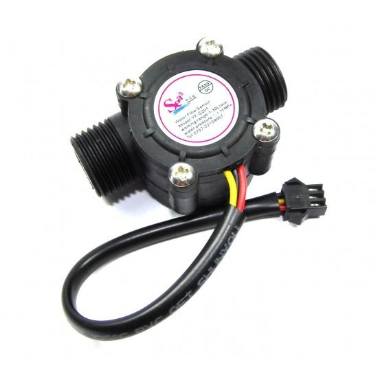 Water Flow Meter Hall Effect Counter Sensor 1-30L/min 1/2''