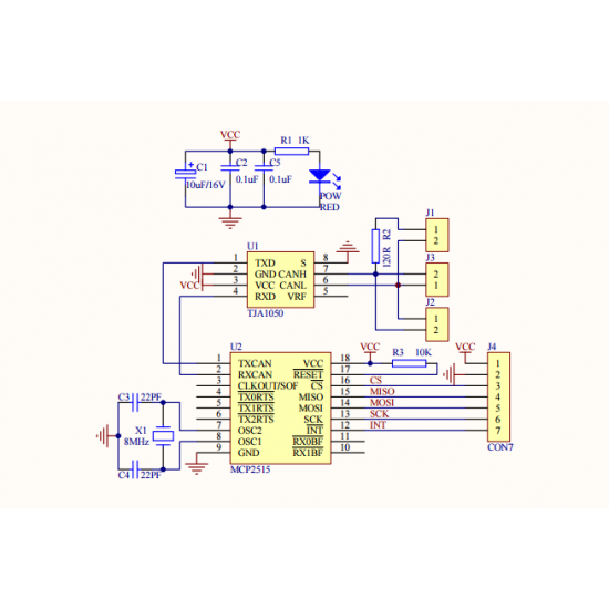 MCP2515 CAN Bus Controller with TJA1050 Driver and SPI Interface